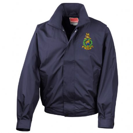 The Royal Marines waterproof lightweight military sports jacket with embroidered Marines regimental cap badge.
